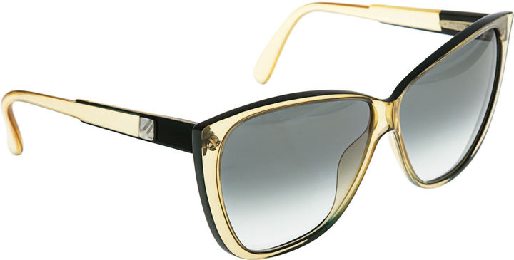 Vintage Vienna Line Wayfarer Sunglasses - Clear Yellow/Green