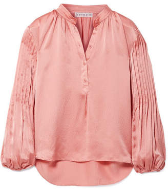 Apiece Apart Bravo Pleated Hammered Silk-satin Blouse - Antique rose