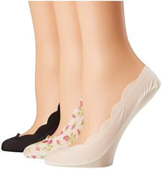 Betsey Johnson 3-Pack Scallop Mini Rose Footies Women's Crew Cut Socks Shoes