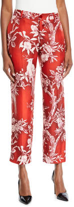 F.R.S For Restless Sleepers Mid-Rise Straight-Leg Cropped Floral-Print Satin Trousers