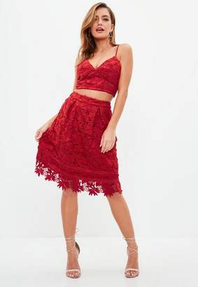 Missguided Red Lace Overlay Full Midi Skirt