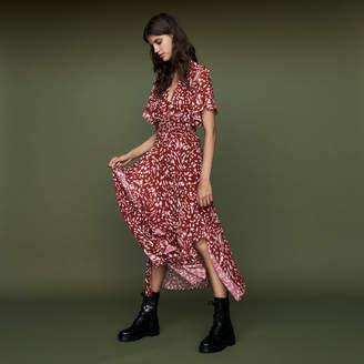 Maje Long asymmetric printed dress