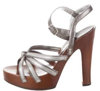 Dolce & Gabbana Metallic Platform Sandals Silver Metallic Platform Sandals