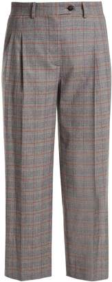 Prince of Wales checked mid-rise cropped trousers