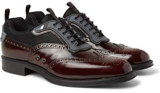 Prada Rubber-Trimmed Spazzolato Leather And Mesh Wingtip Brogues