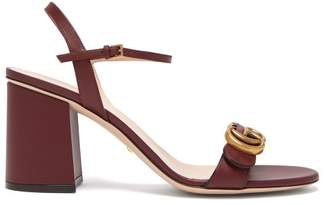 Gucci Gg Marmont Leather Sandals - Womens - Burgundy