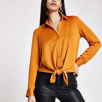 River Island Womens Orange tie front shirt
