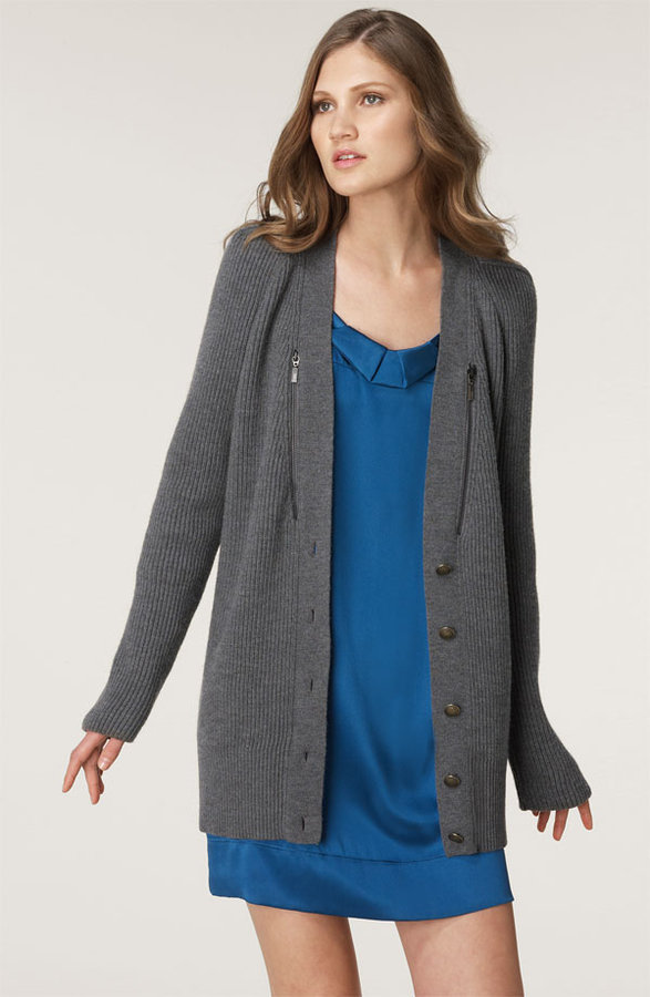 See by Chloé Zip Ribbed Wool Cardigan