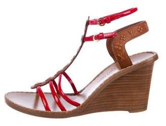 Louis Vuitton Embossed Monogram Wedge Sandals