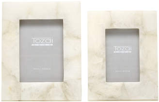Twos Company White Quartz Set of 2 Photo Frames in Gift Box Includes 2 Sizes
