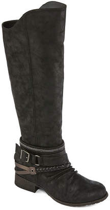 POP Womens Baretta Riding Boots Block Heel Zip