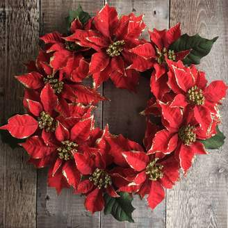 The Christmas Home Traditional Poinsettia Christmas Wreath
