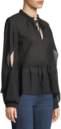 Laundry by Shelli Segal Split-Sleeve Picot-Edge Chiffon Blouse