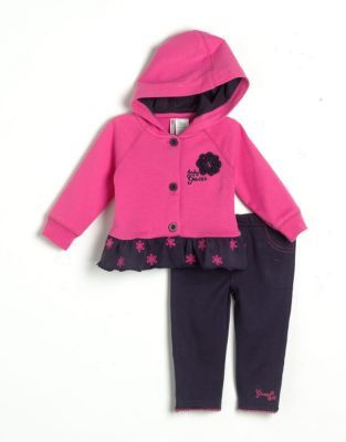 GUESS Newborn Girls 0-9 Months Cotton Hooded Ruffled Jacket & Leggings Set