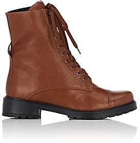 FiveSeventyFive Women's Leather Combat Boots-Brown
