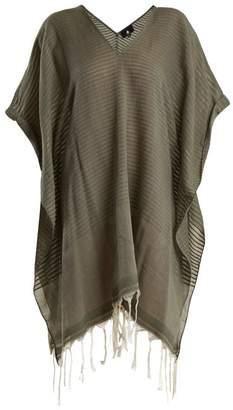 Luma Su Tassel Trimmed Striped Cotton Kaftan - Womens - Khaki