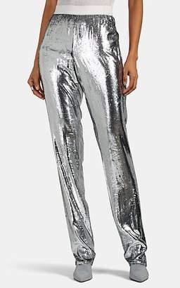 Helmut Lang Women's Lamé-Finished Velvet Pants - Silver