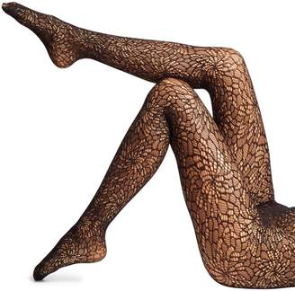 Wolford Floral Swarovski Crystal Lace Tights