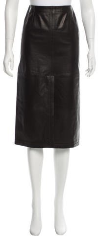 Armani Collezioni Leather Midi Skirt