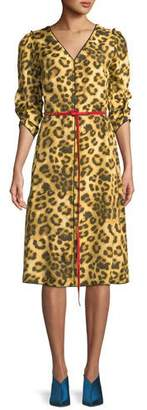 Marc Jacobs V-Neck 3/4-Sleeves Belted Leopard-Print Dress w/ Contrast Back