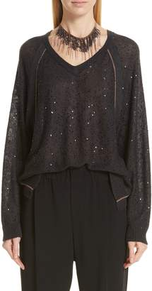 Brunello Cucinelli Sequin & Monili Embellished Linen & Silk Sweater