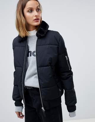Schott padded jacket with hood lining and faux fur collar