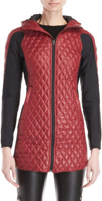 Bacon Red Diamond Quilted Hooded Longline Jacket