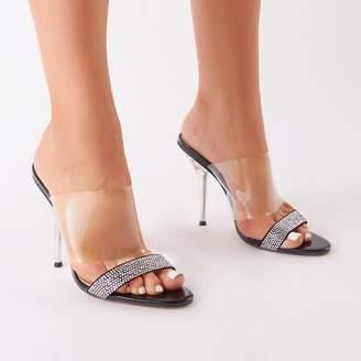 f7315066a990 Public Desire Boo Perspex Mule With Diamante Toe Strap Patent
