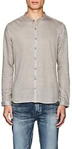 John Varvatos Men's Slub Linen Shirt-Dark Gray