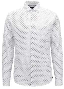 BOSS Hugo Slim-fit shirt in cotton dog motif XXL White
