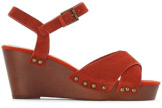 CASTALUNA Leather Wedge Sandals with Wooden Sole, Wide Fit