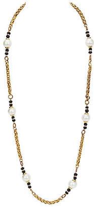 One Kings Lane Vintage Chanel Pearl & Onyx Sautoir Necklace - Vintage Lux