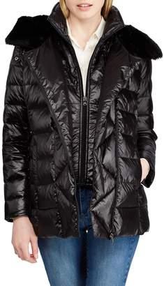 Lauren Ralph Lauren Asymmetrical Placket Faux Fur Trim Quilted Jacket
