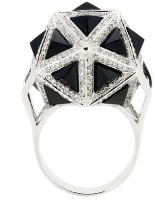 John Brevard Icoso Diamond Black Sapphire Gold Ring