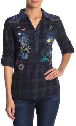 Desigual Embroidered Plaid Blouse