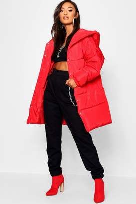 boohoo Petite Hooded Dip Back Padded Coat
