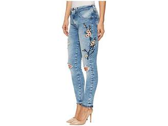 Mavi Jeans Tess High-Rise Ankle Super Skinny in Mid Japanese Embroidery Women's Jeans