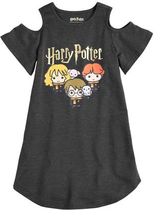 Girls 4-12 Harry Potter Hermione & Ron Cold Shoulder Knee-Length Dorm Nightgown