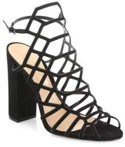 Schutz Jaden Caged Suede Block Heel Sandals
