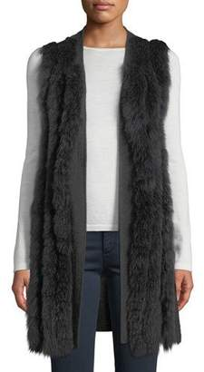 Neiman Marcus Luxury Cashmere Fur-Striped Vest