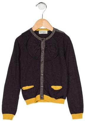 Jean Bourget Girls' Bow-Accented Knit Cardigan