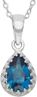 FINE JEWELRY Genuine London Blue Topaz Sterling Silver Pendant Necklace