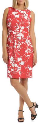 NEW Trent Nathan Shadow Floral Sleeveless Dress Orange