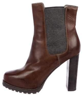 Brunello Cucinelli Leather Round-Toe Ankle Boots brown Leather Round-Toe Ankle Boots