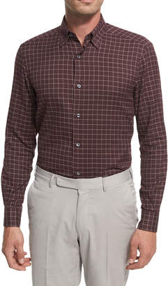 Ermenegildo Zegna Grid-Check Cotton Shirt, Burgundy/White