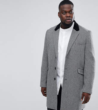 Asos PLUS Wool Mix Overcoat in Herringbone with Velvet Collar