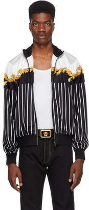 Versace Black and White Brocade Striped Jacket