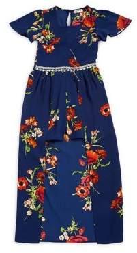 Monteau Girl's Flutter-Sleeve Floral Dress
