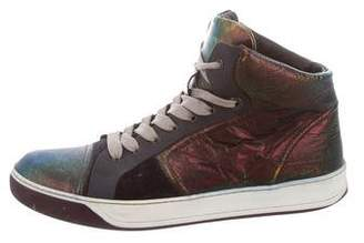 Lanvin Metallic High-Top Sneakers