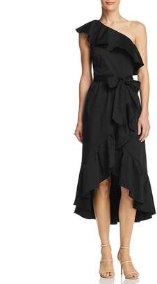 Adrianna Papell Ruffled One-Shoulder Dress